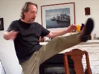 Doug Flomer demonstrates mobility recovery after stem cells.
